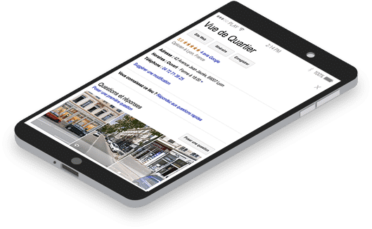 Exemple commerce Vue de quartier page sur smartphone